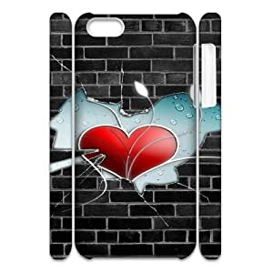 3D Wall Heart IPhone 5C Case, Protective Case Iphone 5c Case for Men Cheap Okaycosama {White}