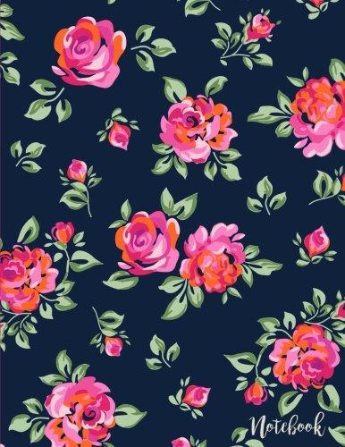 Notebook: Vintage Floral Rose Blooms, 8.5 x 11