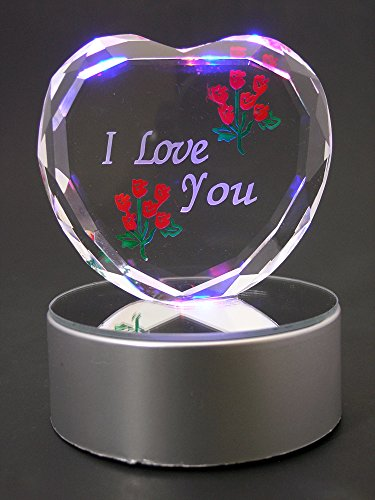a6b44d94fe45 BANBERRY DESIGNS I Love You Gift - Etched Glass Heart on LED Base - LED  Light up Heart - Valentine s Day Decoration - Sweetheart