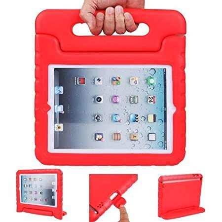 iPad air 2 case, ipad 6 case, ANTS TECH Light Weight [ Shockproof ] Cases Cover with Handle Stand for Kids Children for iPad air 2 (6) (iPad Air 2 (6), Red)