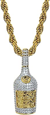 CZ Diamond Rich with Champagne Bottle Gold Pendant Necklace with 24 Rope Chain