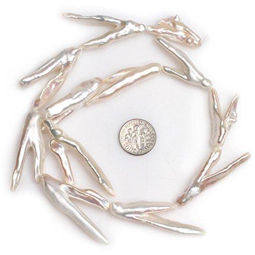 Freshwater Cultured Pearl Beads for Jewelry Making Natural Gemstone 17x46mm Big Large V Shape White Stick Point Biwa 15