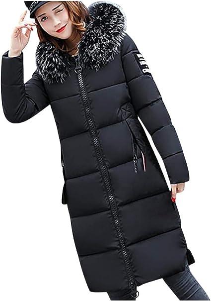 Covermason Manteau Hiver Femme Jacket Elegant Uni Zip Long Veste à Capuche Fourrure Fausse Chaud Doudoune Coat Blouson Parka Veston Hoodie Solide