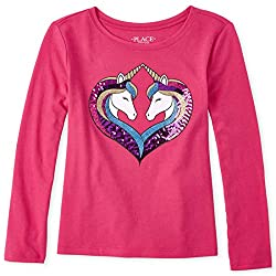 Girls Graphic Long Sleeve Sequin T-Shirt
