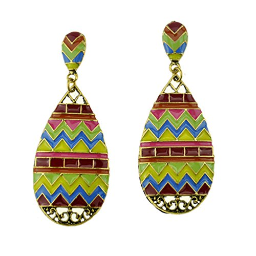 [Superhai Wavy Oil Droplets Hit Color Retro Earrings] (Wavy Guy Costume)