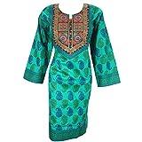 Women's Embroidery Teal Blue Cotton Long Kurti Indian Tunic Dress Kurta