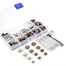 inBox 60 Completed Sets 4 Sizes 10/12.5/15/17mm 3 Colors Silver Brass Gunmetal Black Snap Fasteners Poppers Sewing Leather Buttons Studs with Fixing Tool for Adding Secure Closure to Jackets, Jeans, Bags, Straps and Other Sewing Projects for Clothes Repair