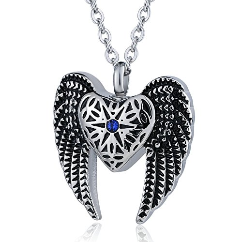 - Epinki Stainless Steel Angel Wing Heart Urn Necklace for Ashes Cremation Keepsake Necklace-Cremation Jewelry