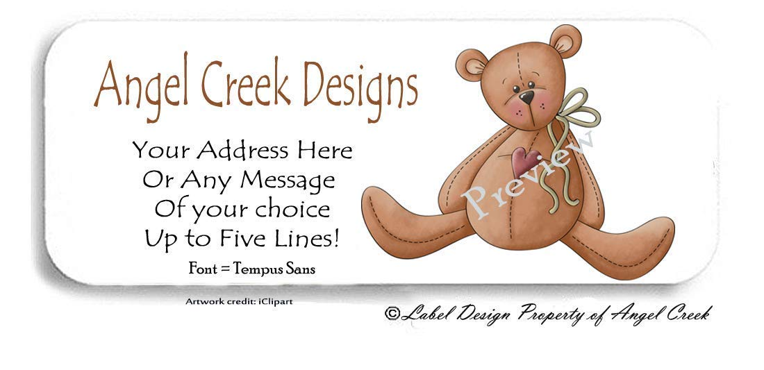 30 Primitive Country Heart Teddy Bear Personalized Return Address Labels