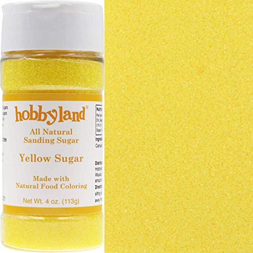 Sugar Sanding Decorative - Hobbyland All Natural Sanding Sugar (Yellow Sugar, 4 oz) Made with Natural Food Coloring