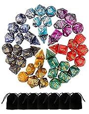 Monuary 49 stuks D&D-dobbelstenen, polyester dobbelstenen en rollenspellen voor Dungeons & Dragons met 7 zakken, 7 sets van RPG DND MTG D4/D6/D8/D10(0-9 en 00-90) / D12/D20