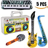 Yojoloin 5PCS Jumbo Inflatables Guitar Saxophone Microphone BOOM BOX Musical Instruments For 80s Accessories Party Supplies Favors Balloons Photo Booth Props(5 PCS)