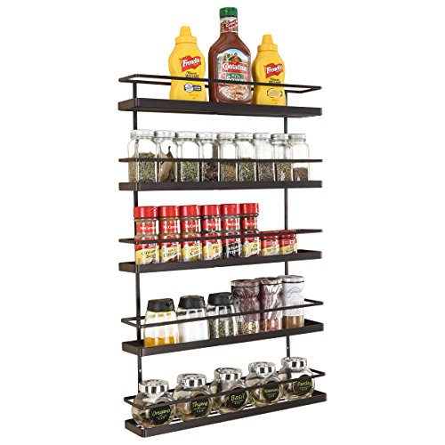(5 Tier Wall Mount Spice Rack Organizer,Pantry Cabinet Door Spice Shelf Storage)