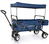 WonderFold Outdoor High End Collapsible Folding Wagon with Canopy - Steering Handle with Spring Bounce, Auto Safety Locks, Brake, Stand, EVA Wide Tire (Midnight Blue)
