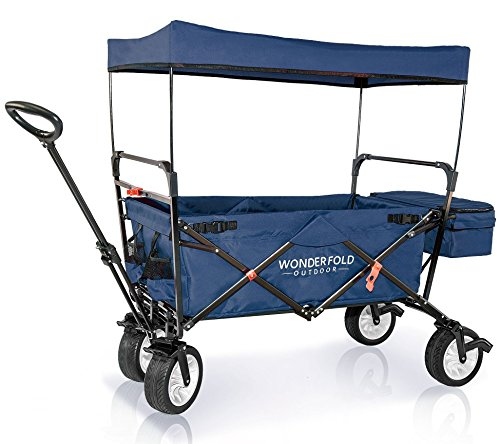 WonderFold Outdoor High End Collapsible Folding Wagon with Canopy – Steering Handle with Spring Bounce, Auto Safety Locks, Brake, Stand, EVA Wide Tire (Midnight Blue) Review