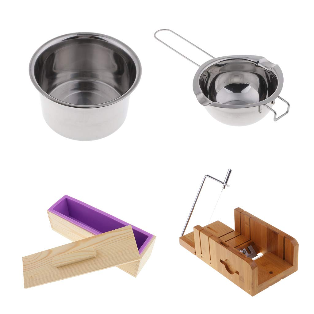 Prettyia 4pcs/Set Soap Cutters with Beveler Wire Slicer + 900ml Silicone Soap Loaf Mold Wood Box with Lid + Melting Pot Double Boilers