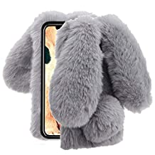 Aearl iPhone XR Case,iPhone XR Rabbit Fur Ball Case,Luxury Cute 3D Homemade Diamond Winter Warm Soft Furry Fluffy Fuzzy Bunny Ear Plush Back Phone Cover for Girls Women-Gray(iPhone XR 6.1 inch 2018)
