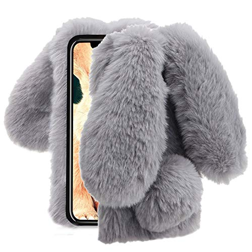 Aearl iPhone XR Case,iPhone XR Rabbit Fur Ball Case,Luxury Cute 3D Homemade Diamond Winter Warm Soft Furry Fluffy Fuzzy Bunny Ear Plush Back Phone Cover for Girls Women-Gray(iPhone XR 6.1 inch 2018) (Case Bunny 4 Rabbit Iphone)