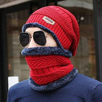 Mens Winter Beanie Scarf Set Knitted Hat Stretch Cable Warm Fleece Lining Cap