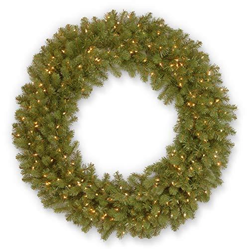 Pre-Lit Downswept Douglas Fir Artificial Christmas Wreath - 48-Inch, Clear Lights