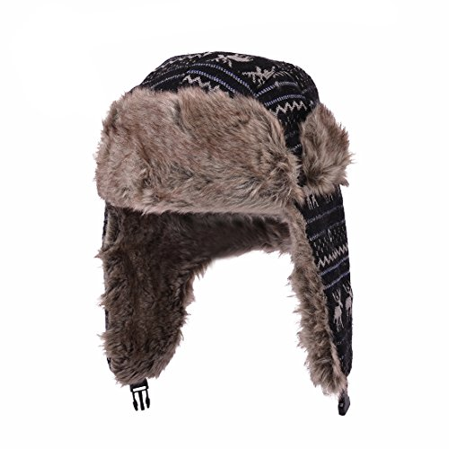 Huan Xun Weave Knit Design Faux Fur Trapper Bomber Hat Cap