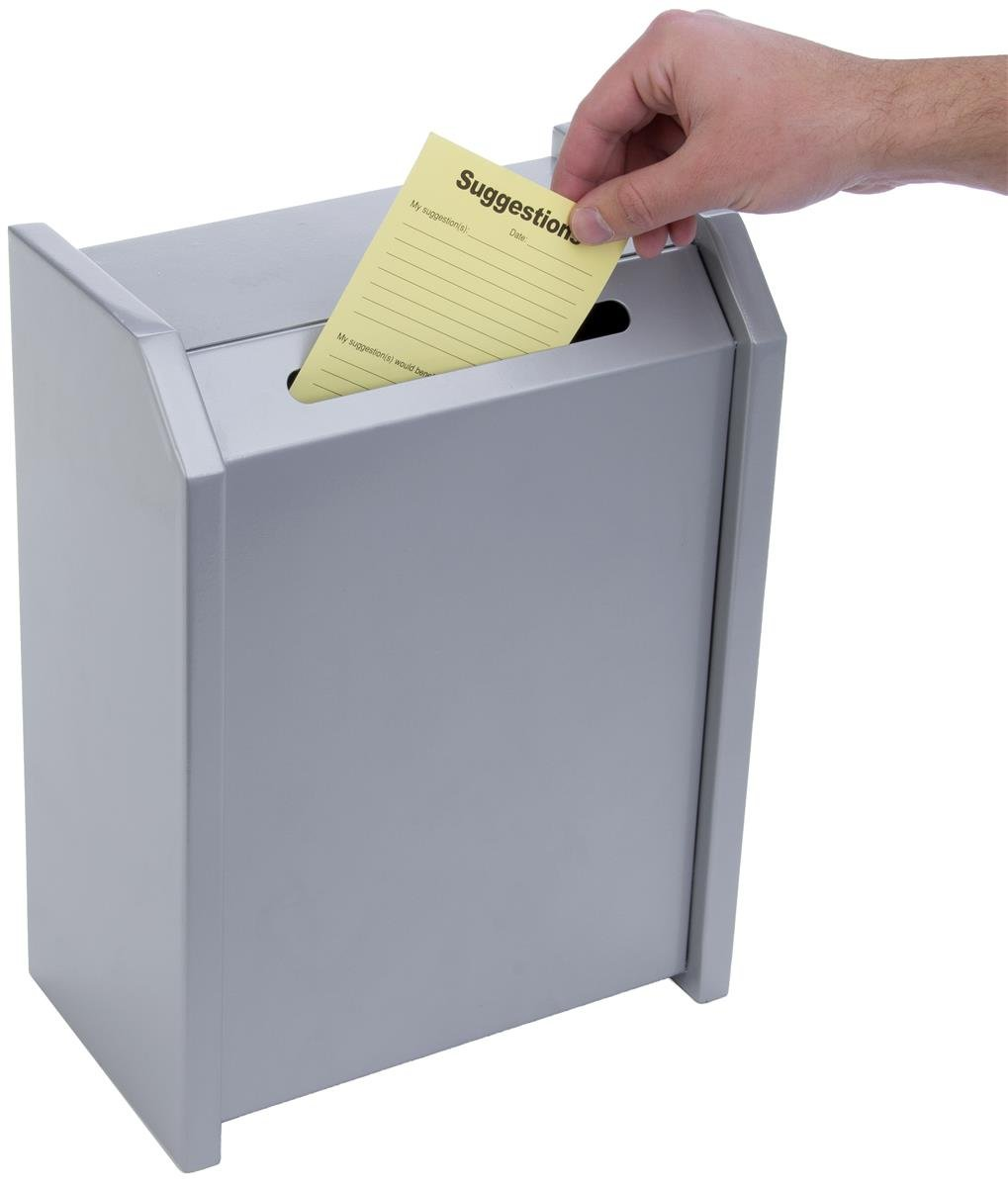 Displays2go Metal Ballot Box, Tabletop Or Wall Mount, Top Loading, Locking, Silver (TBSUG2SV)