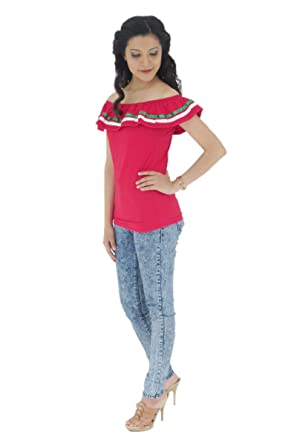 d3d81a0e0 Uipil Womens Mexican Fiesta Blouse Only Lycra one Size Red 5394 at Amazon  Women's Clothing store: