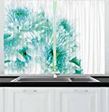 Ambesonne Aqua Kitchen Curtains, Fresh Cluster Vibrant Indian Asian Dahlia Flowers Buds Leaves Image, Window Drapes 2 Panel Set for Kitchen Cafe, 55 W X 39 L Inches, Blue Light Blue and Turquoise Review