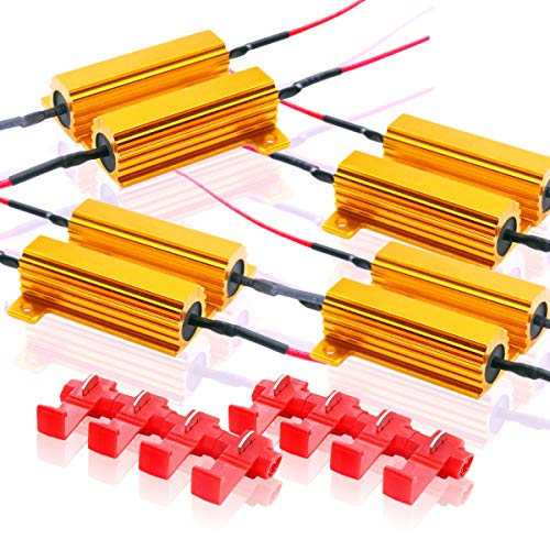 (Zone Tech 50W 6Ohm LED Load Resistors - 8-Pieces Premium Quality LED Load Resistors for LED Turn Signal Lights or LED License Plate Lights or DRL (Fix Hyper Flash, Warning Cancellor))