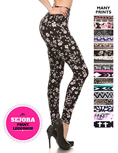 7L01-27+SEJORA+Printed+Leggings+-+Full+Length+Seamless+Fashion+Patterned+-+Many+Designs+%28Small%2FMedium%2C+Daisy%29