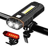 WZTO Luces Bicicleta, 500 Lumens Brillante LED 5 Modos LUZ Bicicleta Delantera y Trasera IPX4 Impermeables Lampara Linterna Led para Bicicleta USB Recargable