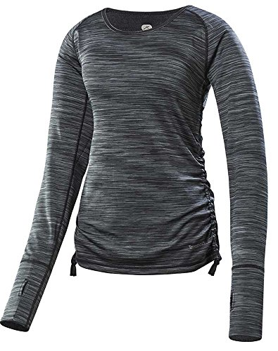 Terramar Sports Women's Pebble Melange Reversible Long Sleeve Scoop L Black Melange