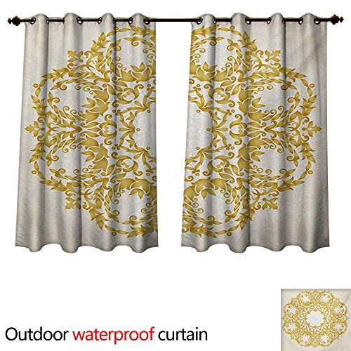 (WilliamsDecor Victorian Outdoor Ultraviolet Protective Curtains Traditional Floral Round Circle with Baroque Elements Turkish Ottoman Style Art W72 x L72(183cm x 183cm))