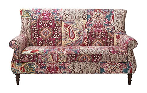 Jennifer Taylor Home Maria Collection Bohemian Style Cotton Hand Tufted With Wooden Legs Settee, Bombay