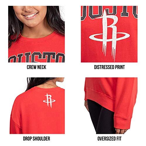 Ultra Game NBA Women's Extra Soft Fleece Distressed Oversized Pullover Sweatshirt
