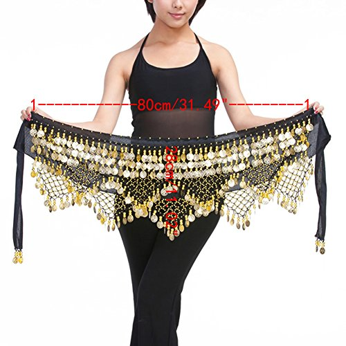 Saymequeen Belly Dancing Dance Waist Chain Hip Scarf Skirt Belt With 320 Coins (black & gold coins)