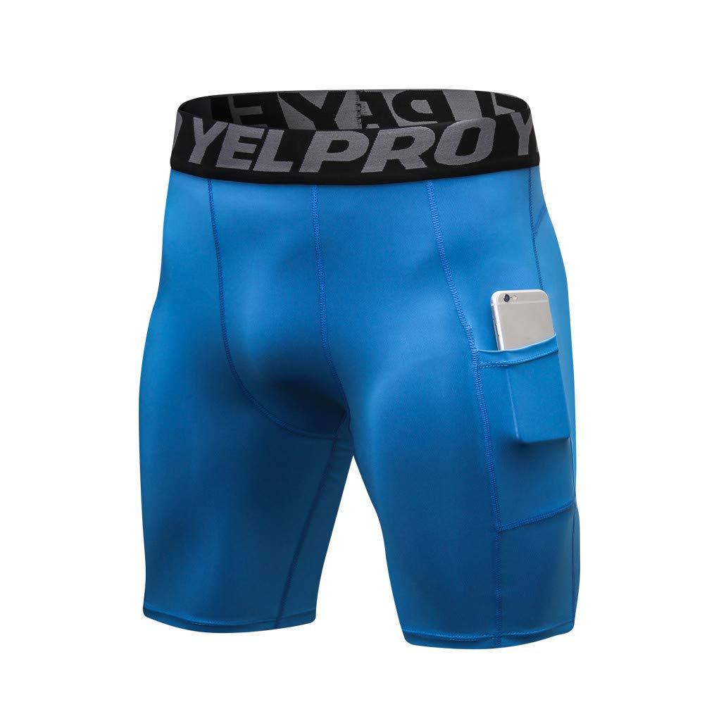 NUWFOR Men's Sports Training Bodybuilding Workout Fitness Short Pants Sports Pants(Blue,US:S/AS:XL Waist:29.9''