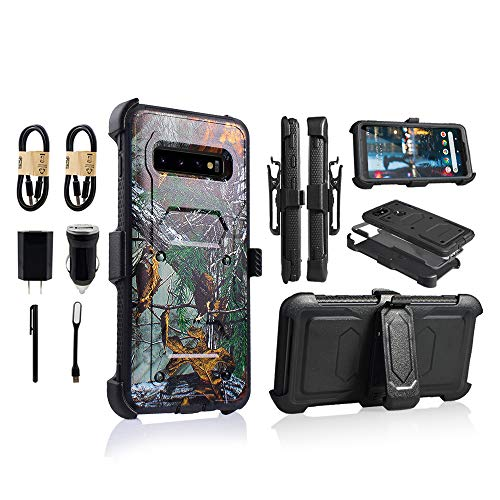 for Samsung Galaxy S10e | Dual-Layer Military Grade Phone Cover, Built-in [Screen Protector] Full-Body Armor Case [Belt Clip Holster][Kickstand] (for Samsung Galaxy S10 E) [Value Bundle] (Camo) (Grade Military Pack Battery)