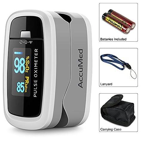 AccuMed CMS-50D1 Pulse Oximeter Finger Pulse Blood Oxygen SpO2 Monitor w/ Carrying case, Landyard & Battery FDA CE Approved (Pulse Oximeter Digital)