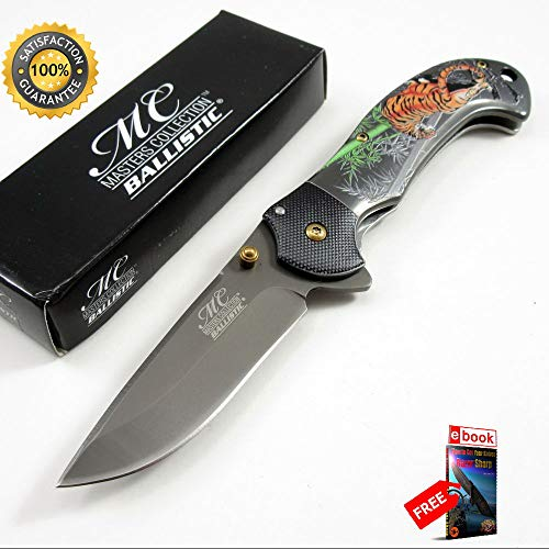 SPRING ASSISTED FOLDING Sharp KNIFE 3.25'' Gray Titanium Coated Blade Black Bengal Tiger Combat Tactical Knife + eBOOK by Moon Knives