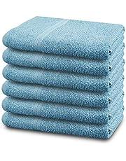 "100% Cotton Bath Towels Set 24""x46"" Pack of 6 Blue Towels Ultra Soft Large Bath Towels Gym Spa Luxurious Hotel Bath Towel Ring Spun Cotton Bath Towel"