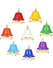 Nrpfell Colorful 8 Note Hand Bell Set Musical Educational Instrument Toy for Children Kids Student