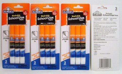 Washable Glue Pen - Elmer's Washable School Glue Pens with Precision Tips #1 Teacher Brand (3-pens Per Pack) - 4 Packs
