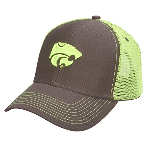 Ouray Sportswear NCAA Kansas State Wildcats Sideline Cap, Adjustable Size, Dark Grey/Neon Yellow (State Cap Wildcats)