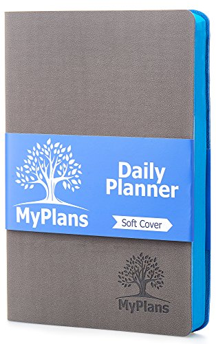 Undated Daily Planner and Journal (Faux Leather) Weekly and Monthly Organizer | Home, Travel or Student Calendar | Organize Appointments, Dates, Holidays and Events | Soft Cover | Gray