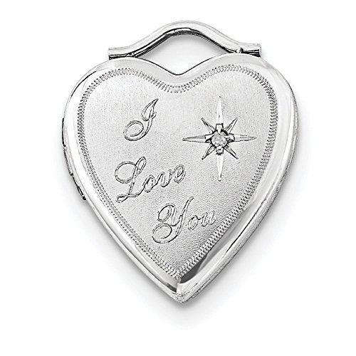 Sterling Silver Diamond 20mm Heart Locket ()