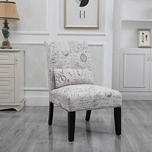 HomeSailing Living Room Side Accent Chairs Corner Bedroom Comfy Armless Occasional Chair Fabric Upholstered High Back Recliner Chairs for Spare Room Furniture Leisure Chair (Single Letter Pattern)