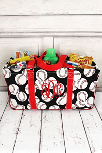Baseball with Red Trim Collapsible Haul-It-All Basket with Mesh Pockets