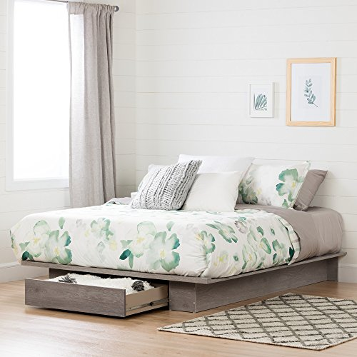 Full/Queen Platform Bed with Drawer for Extra Storage Space, (54/60'') Profiled Shape, Laminated Top Surface, Sand Oak, Bedroom Furniture, Bundle with Our Expert Guide with Tips for Home Arrangement
