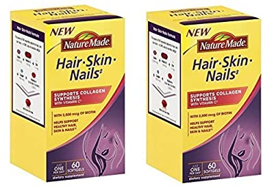 Nature Made Hair, Skin, Nails with Biotin Softgel, 2500 mcg, 60 Count (Pack of 2)